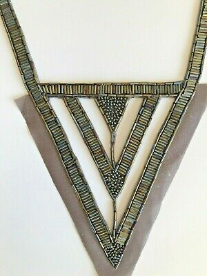 Vintage 1980s Beaded Embroidered Art Deco Style Flapper Dress Neck Trim Iron On • 3.99£