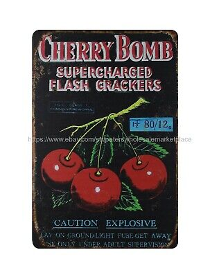 Wall Art Plaque Cherry Bomb Supercharged Flash Firecrackers Metal Tin Sign • 11.43£