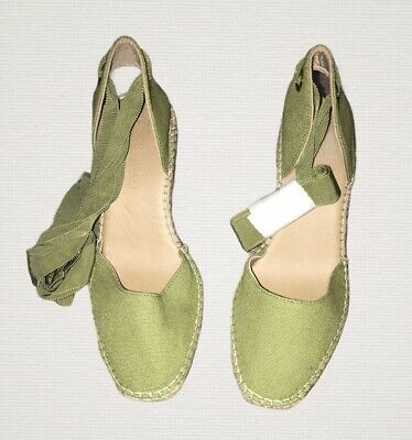 Ladies Green Espadrilles With Lace Ups Size 4 • 14.99£