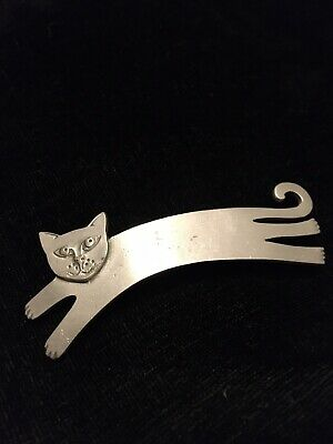 Vintage Mali Stretching Pouncing Cat Brooch Pin • 6£