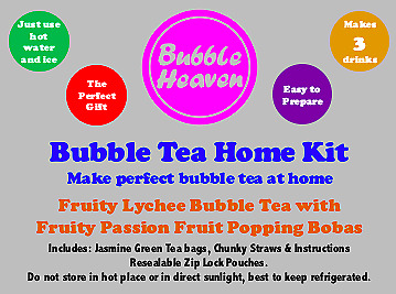 Bubble Heaven Fruity Lychee Bubble Tea With Passion Fruit Popping Bobas • 8.99£