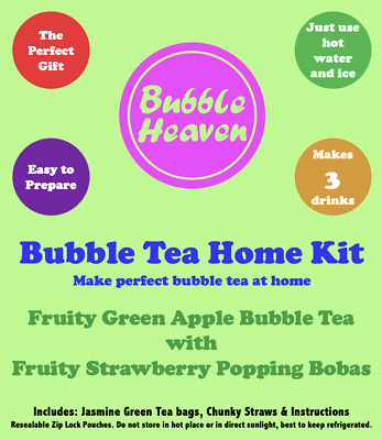 Bubble Heaven Fruity Green Apple Bubble Tea With Strawberry Popping Bobas • 8.99£