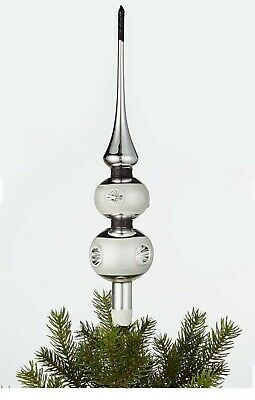 John Lewis Glass Christmas Tree Topper Top Ornament Rocket Silver • 9.99£