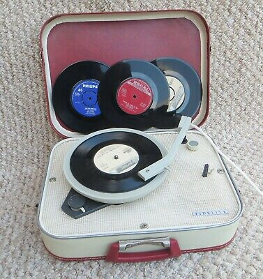 Fidelity Hf31 Vintage Carry Case Record Player + 10 Free Records (1960s) • 99£