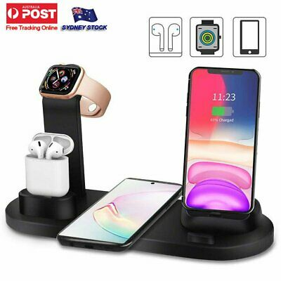 AU19.96 • Buy 3in1 Qi Wireless Charger Fast Charging Dock Stand For Airpods Apple Watch IPhone
