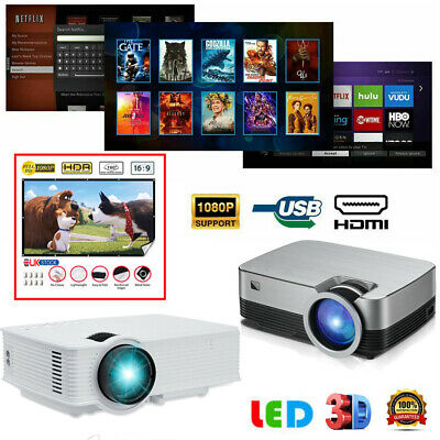 5000 Lumen 1080P LED Projector Home Theater Cinema USB HDMI AV Projection Screen • 13.18£