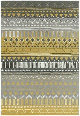 Yellow & Grey Rug Retro Vintage Rugs Tribal Bedroom Floor Mat Carpet Turkish  • 59.99£