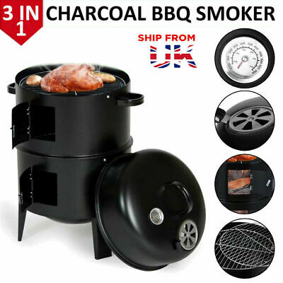 Smoker BBQ Charcoal Grill Portable Garden Barbecue Meat Food Cooking Drum Oven • 38.99£