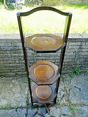 £29.99 • Buy Vintage Oak 3 Tier Folding Cake / Plant Stand Nice Condition 36  Tall