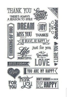 Sentiments Clear Stamp Set, Beautiful Positive Sayings,  New Home, Thanks, Love • 5.49£