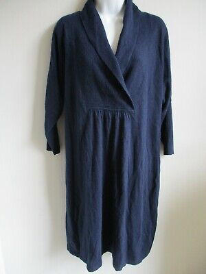 MONSOON Slouchy Cotton Blend Knitted Jumper Dress With Angora Royal Blue L 14 • 15£