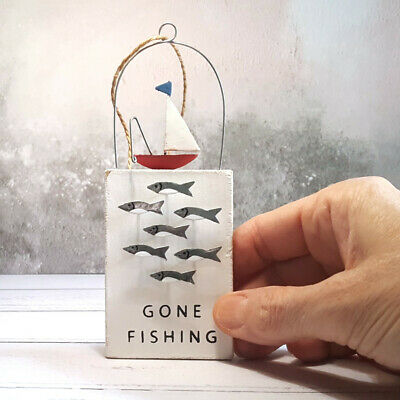 £6.50 • Buy Gone Fishing - Small Wood & Metal Hanging Sign For Anglers & Boaters