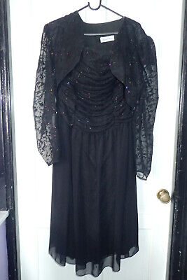 Ladies Evening Dress And Jacket 2-piece,size 14/16 Black With Glitter And Lace D • 10£