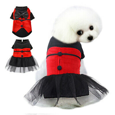 Cute Small Dog Clothes Pet Cat Dog Jumper Dog Dresses Party Birthday Pet Apparel • 7.24£
