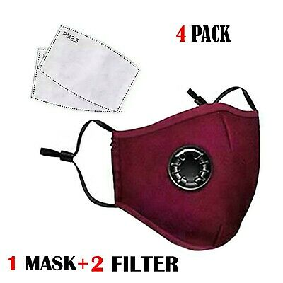$ CDN26.35 • Buy 4 PACK MAROON Face Mask Breathing Valve PM2.5 Face + 2 Mask Filters WASHABLE