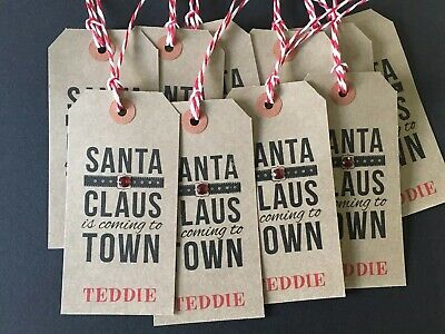 10 Personalised White Kraft Stamped Embellished Santa Clause Christmas Gift Tags • 2.75£