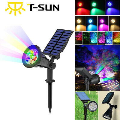 Solar Spot Lights LED Colour Changing Projection Stake Garden Light Outdoor • 14.99£