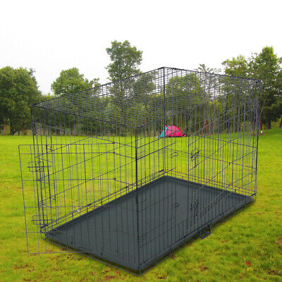 $99.99 • Buy Large 48  Dog Crate Heavy Duty Kennel Metal Pet Cage Playpen House W/Tray Black