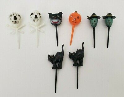 $ CDN19.81 • Buy Lot 8 Vintage Plastic Halloween Cupcake Pick Decor Witch Black Cat Skull Pumpkin