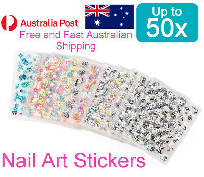 AU2.95 • Buy Nail Art Stickers Transfer Decals Sheets - Fowers Hearts Butterflies (Up To 50x)