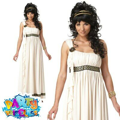 Adult Olympic Goddess Costume Ladies Roman Greek Toga Fancy Dress Outfit New • 27.99£