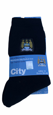 £3.45 • Buy Mens Thermal Official Manchester City Socks Black  Uk  6-11 (free Postage)