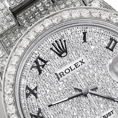 $14999 • Buy Rolex Roman Numerals Iced Out Full Pave Diamond 36mm Datejust Steel Steel Oyster