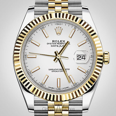 $ CDN20652.24 • Buy Rolex 126333 41mm Datejust Large Mens Jubilee White Index Fluted 2tone 18K Gold