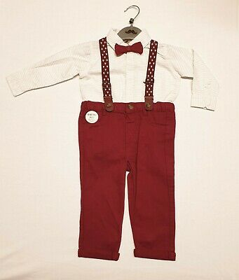 £17.95 • Buy Baby Boys Little Gent Formal Outfit Bodysuit Shirt Bow Tie Braces & Trousers
