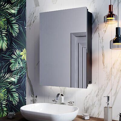 LED Bathroom Mirror Cabinet With Shaver Socket Illuminated Button Wall Mounted • 139.99£