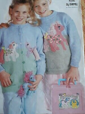 WENDY 3281 Knitting Pattern GIRLS MY LITTLE PONY CARDIGAN + JUMPER 24-30     • 3.45£