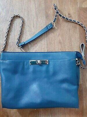 Blue Classy Jane Shilton Handbag Pretty Chain Strap Floral Interior • 1.40£