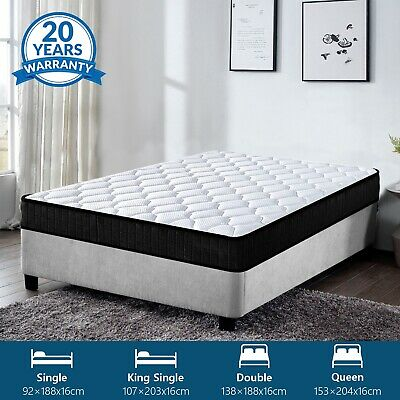 AU126.99 • Buy Mattress Queen Double King Single Bed Size Firm Foam Bonnell Spring 16cm