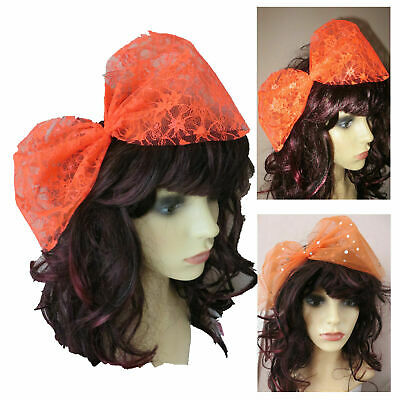 Orange Lace Bow, Sequin Bow, Large Hair Bow 80s Fancy Dress Hair Bow Lace/sequin • 3.99£
