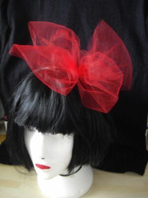 80s Fancy Dress 80s Accessories Large Hair Bow Tulle Hair Bow  On An Alice Band • 3.99£