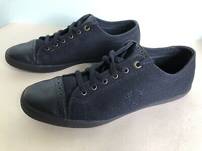 Fred Perry Dark Blue Canvas Flat Trainers Shoes Size 8 UK EU 42 • 14.99£