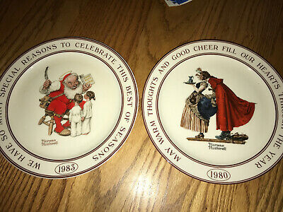 $ CDN33.27 • Buy Norman Rockwell 1980 1983 Celebrate Warm Thoughts Christmas Plates SANTA