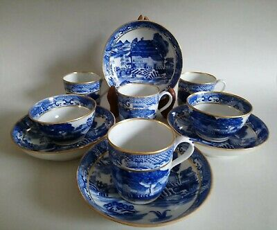 Antique Georgian New Hall 'Trench Mortar' Tea Wares Blue White Pearlware C1800 • 25£