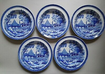 FIVE Antique Spode Tiber Rome Soup Plates C1815 Blue White Pearlware Transfer  • 45£