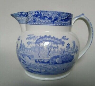 Antique Victorian Copeland Late Spode Castle Pattern Jug Blue White Pearlware. • 5£