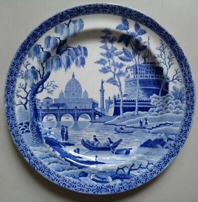 Antique Georgian Spode Tiber Rome Plate C1820 Blue White Pearlware Transfer  • 15£