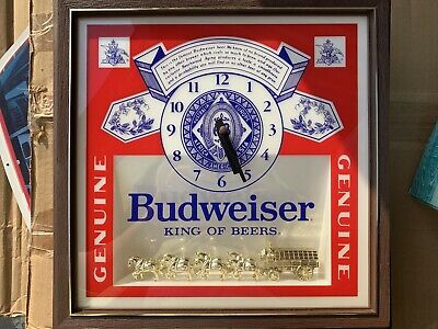 $ CDN264.24 • Buy Vintage BUDWEISER Clydesdales Deluxe Label Sign Lighted Clock Light RARE