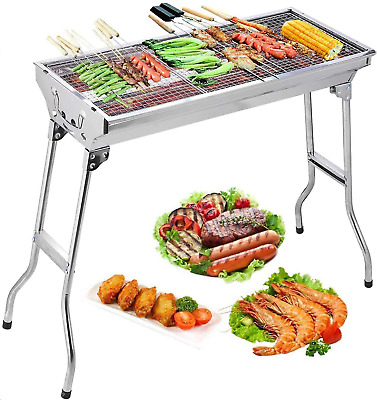 Large Barrel Smoker Barbecue BBQ Outdoor Charcoal Portable Grill Garden Wheels • 104.99£