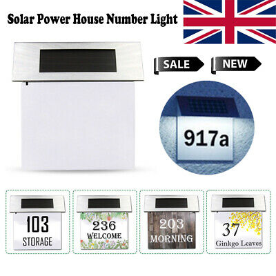 Solar Light House Number Address Sign LED Illuminate Plaque W/ Number & Letter • 8.99£