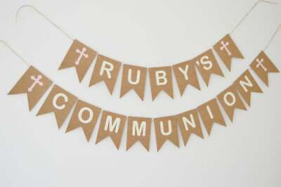 Personalised Holy Communion Bunting,  Christening Banner, Party Decoration, • 10.90£