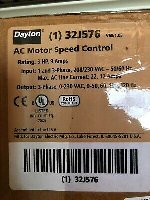 $425 • Buy New In The Box Dayton AC Motor Speed Control Rating 3 HP, 9 Amps