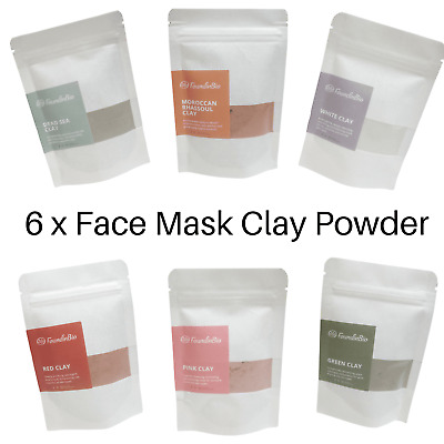 Natural Clay Face Mask Powder Kaolin Pink  Red Green Rhassoul White Dead Sea 80g • 3.75£