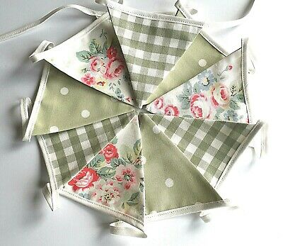 Cath Kidston Mini Bunting Trailing Floral Laura Ashley  Green Gingham Sage Dotty • 10.95£