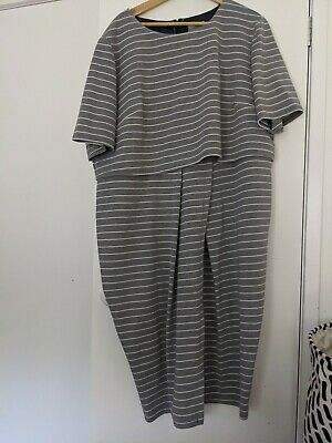 AU25 • Buy ASOS Curve Size 26 Fitted Work Dress In Ponte Grey Stripe