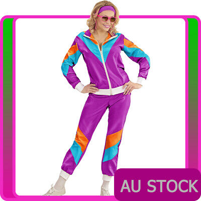 AU41.99 • Buy Womens 80s Height Of Fashion Costume Purple Retro 1980s Shell Suit Tracksuit